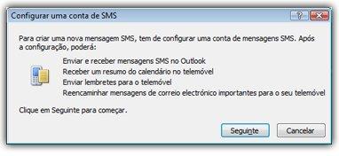 Configurar conta de mensagens SMS