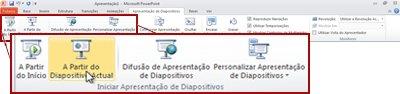 O grupo Iniciar Apresentação de Diapositivos no separador Apresentação de Diapositivos no PowerPoint 2010.