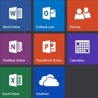 Ecrã inicial do Office.com