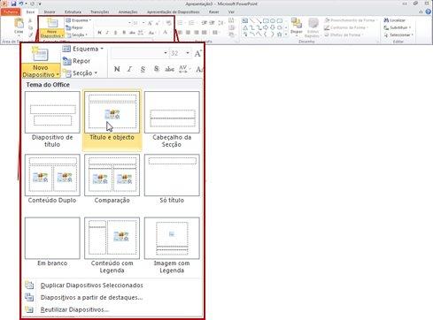 O grupo Diapositivos no separador Base no PowerPoint 2010