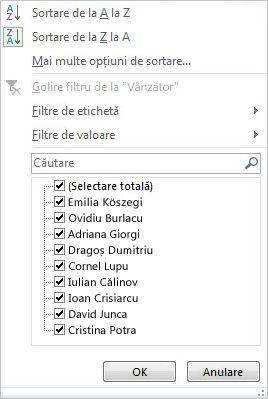 Opțiunile de filtrare și de sortare pentru un PivotChart