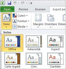 Galeria de teme în Excel 2010