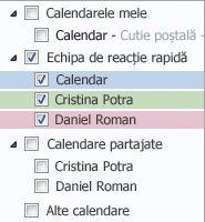 Grup de calendare în Panoul de Navigare