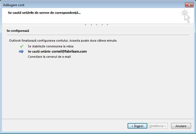Caseta de dialog Adăugare cont nou care indică faptul că sunt configurate setările serverului de e-mail