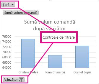PivotChart afișând controalele de filtrare
