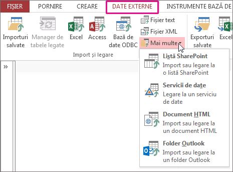 Opțiuni din fila Date externe în Access