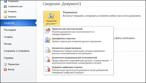 Кнопка «Защитить документ» с параметрами