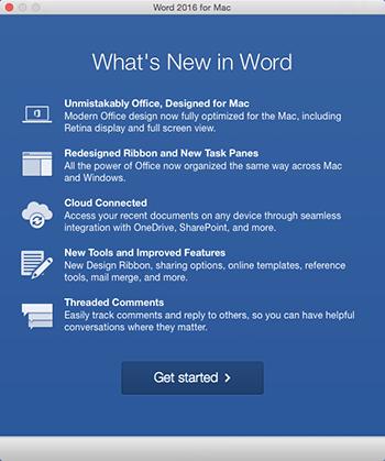 """Экран """"Что нового"""", который появляется при первом запуске только что установленного приложения Office."""