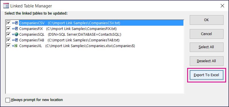"""Диалоговое окно диспетчера связанных таблиц в Access с выделенной кнопкой """"Экспорт в Excel""""."""