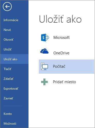 Okno Uložiť ako obsahujúce zoznam umiestnení, kam môžete uložiť dokument