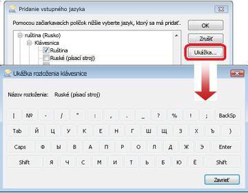 Dialógové okno Pridanie vstupného jazyka s ruskou klávesnicou