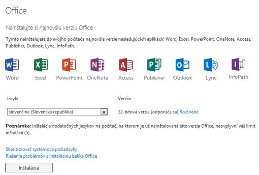 Stránka inštalácie najnovšej verzie balíka Office