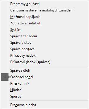 Zobrazenie zoznamu možností a príkazov stlačením klávesu s logom Windows + X