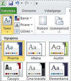 Galerija tem v programu Excel 2010