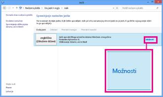 Dodajanje vnosne metode v nadzorni plošči v sistemu Windows 8