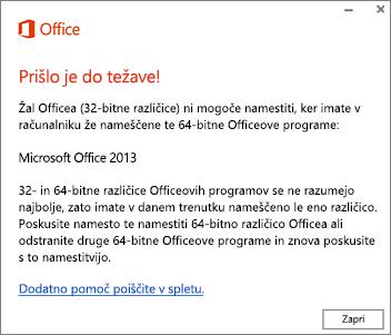 Sporočilo o napaki, ki sporoča, da ni mogoče namestiti 32-bitne različice Officea, če je že nameščena 64-bitna različica