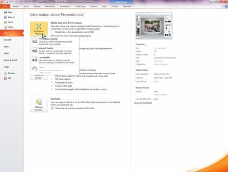 Stiskanje predstavnostnih datotek