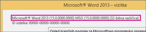 Številka različice Officea