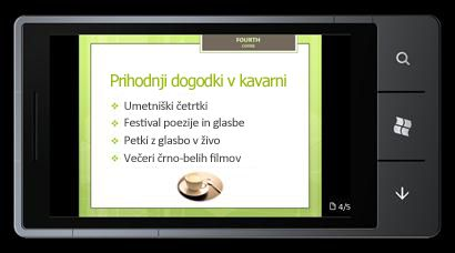 PowerPoint Mobile 2010 za naprave s sistemom Windows Phone 7: urejanje in ogled dokumentov v telefonu