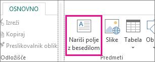 Posnetek risanja polja z besedilom v Publisherju.