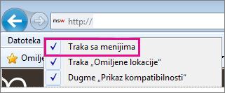 Prikazivanje trake sa menijima u programu Internet Explorer