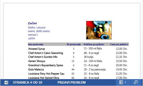 Ugrađena PDF datoteka za katalog proizvoda prikazana je u programu Word Web App