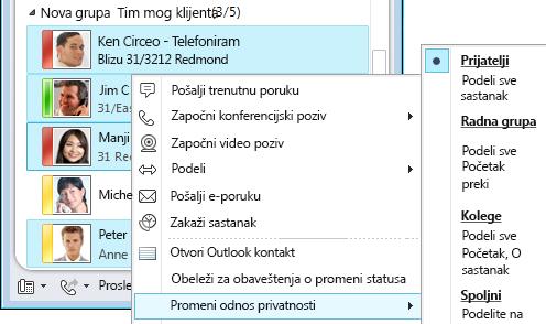 Personalizovanje kontakt informacija
