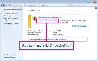 Veze u Windows Update oknu