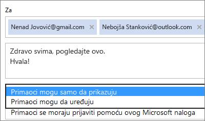 """Izbor opcija """"Samo prikaz"""" i """"Obavezno prijavljivanje"""" u e-poruci poziva"""