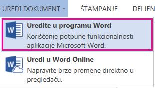 """Snimak ekrana usluge Word Online sa izabranom stavkom """"Uredi u programu Word"""""""