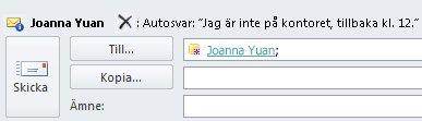 Avisering för E-posttips för mottagare som inte är på kontoret