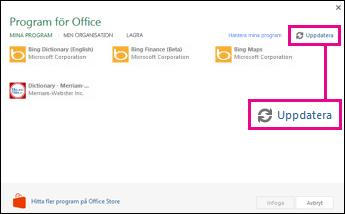 Uppdatera-knappen, Program för Office