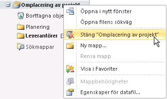 Kommandot Stäng Outlook-datafil (.pst)