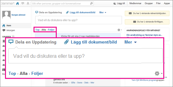 Skärmbild på webbplatsen Yammer med en rosa ruta som anger vilken av vyerna Top (Överst), All (Alla) eller Following (Följer) som är vald