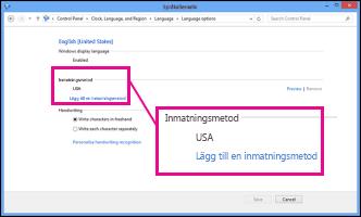 Lägga till en inmatningsmetod i Windows 8
