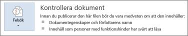 Kontrollera dokument i Word 2013