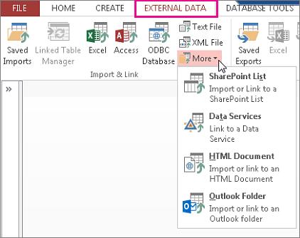 ตัวเลือกแท็บข้อมูลภายนอกใน Access