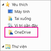 Thư mục OneDrive trong Windows Explorer