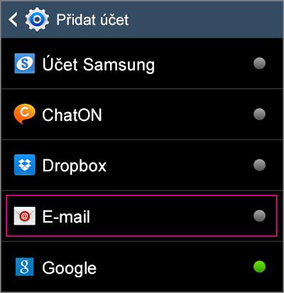 Výběr e-mailu pro přidání účtu