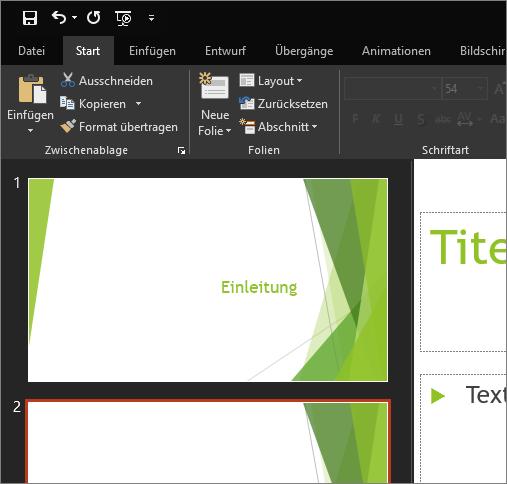 """Zeigt das Design """"Schwarz"""" in PowerPoint 2016 für Windows an"""