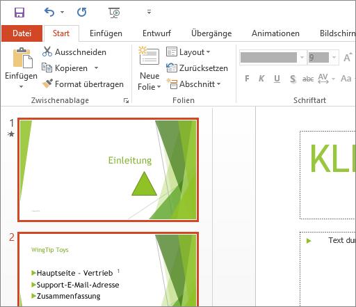 """Abbildung von PowerPoint 2016 mit angewandtem Design """"Weiß"""""""