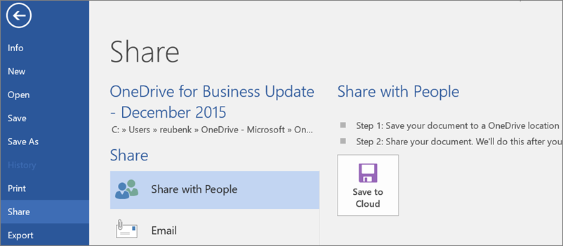 Screenshot of sharing a OneDrive for Business file from Word desktop app