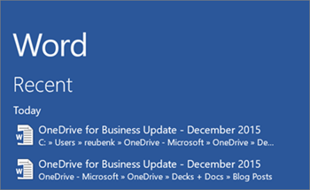 Screenshot of OneDrive for Business documents showing in the Recent list in Word