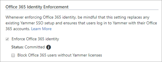 Screenshot of Block Office 365 users without Yammer licenses checkbox in Yammer Security Settings