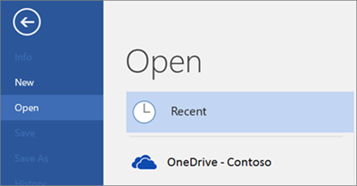 Screenshot of Recent list in Word and how OneDrive for Business files will show in the list