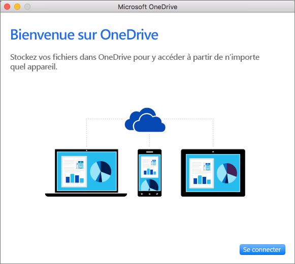 Capture d'écran de la page Bienvenue dans l'Assistant Bienvenue dans OneDrive pour un compte professionnel sur Mac