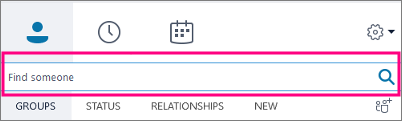 Lorsque la zone de recherche de SkypeEntreprise est vide, les onglets disponibles sont Groupes, État, Relations et Nouveau.