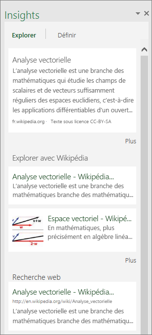 Volet Insights dans Excel 2016 pour Windows