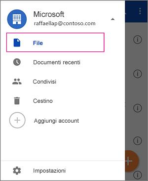 Selezionare File per vedere i file salvati in OneDrive