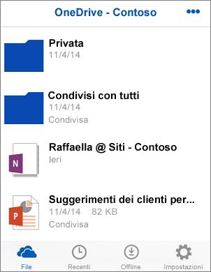 Cattura di schermata di file nell'app OneDrive for Business